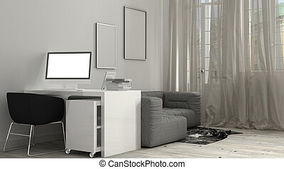 White workplace, mock-up