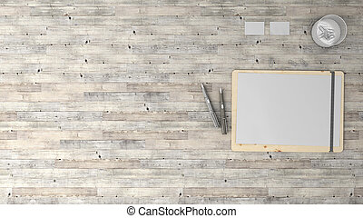 Stylish background with parquet and office stuff, top view