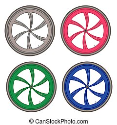 bicycle wheels different color set on white background vector