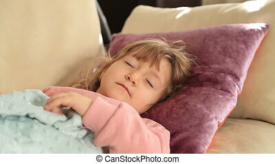Little girl sleeping - Little cute girl sleeping on sofa