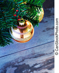 x-mas fragment - close up view of decorated Christmas tree...