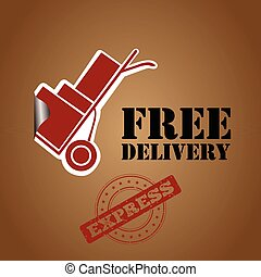Free delivery box with tags, Vector illustration