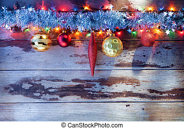 x-mas view - close up view of christmas tree toys and lights...