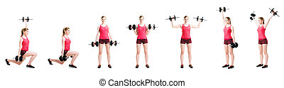 Young and fit blond woman working out on white - Fit,...