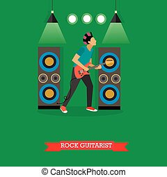 Rock Guitarist playing electric guitar on stage, vector illustration.