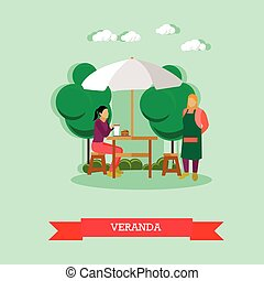 Vector, waiter serving woman sitting at the table on veranda...