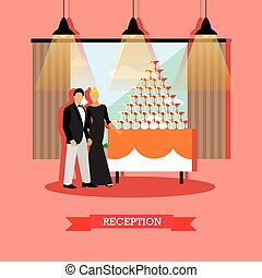 Vector restaurant design element with man and woman at...