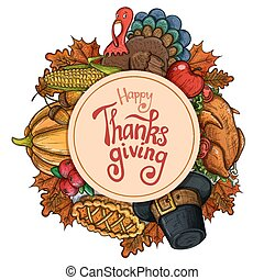 Circle shape template with Thanksgiving icons - Circle shape...