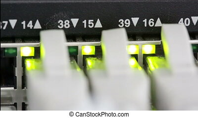 Lights and connections on network server closeup