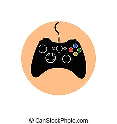 Videogame - Isolated joystick on a colored button, Vector...