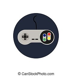 Videogame - Isolated joystick on a blue button, Vector...