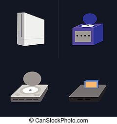 Videogame - Set of videogame consoles on a blue background,...