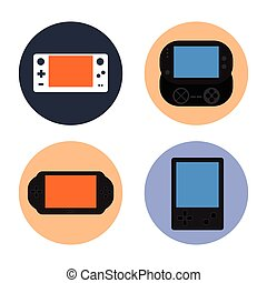 Videogame - Set of gamepads on colored buttons, Vector...
