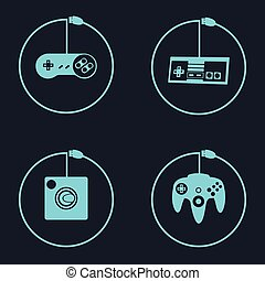 Videogame - Set of joysticks on a colored background, Vector...