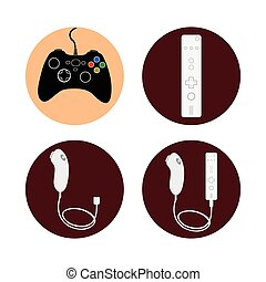 Videogame - Set of joysticks on colored buttons, Vector...