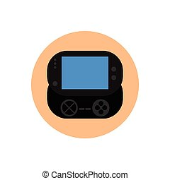 Videogame - Isolated gamepad on a colored button, Vector...