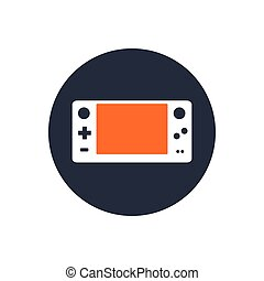 Videogame - Isolated gamepad on a blue button, Vector...