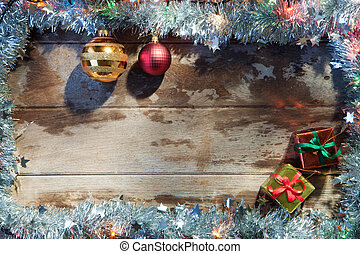 frame x-mas - close up view of christmas tree toys, gifts...
