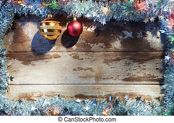 x-mas frame - close up view of christmas tree toys and...