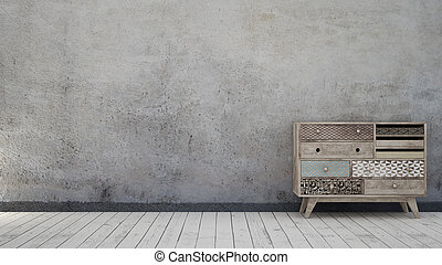 Vintage interior with aged wall and scandinavian chest of...