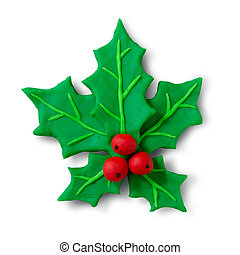 Plasticine figure of Christmas Holly
