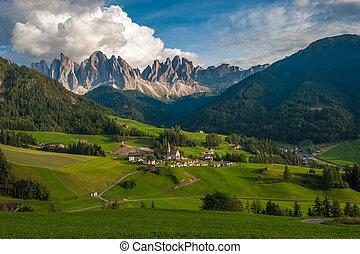 Santa Maddalena Village and the Dolomites, Val di Funes,...