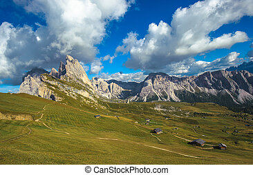 Seceda peak, Odle mountain range, Gardena Valley, Dolomites,...