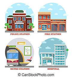 Fire station and hospital building, metro, police - Fire...