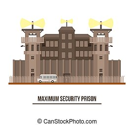 Maximum security prison with prisoner vehicle - Maximum...