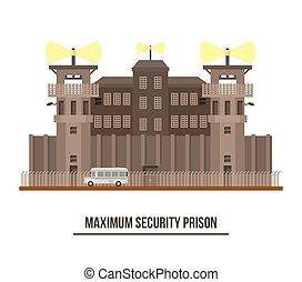 Maximum security prison with prisoner vehicle - Maximum...