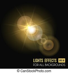 Sunbeam shining through lens, sun light effect. Abstract...