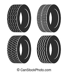 Bus rubber tire for wheel, truck or auto tyre. Isolated icon...