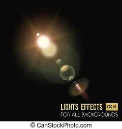 Abstract sun in zenith light effect through lens. Sunlight...