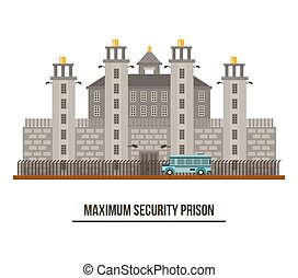 Towers and fence at maximum security prison. Criminal...