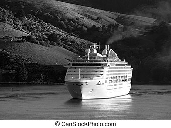 Arriving To New Zealand - The cruise liner arriving to Port...
