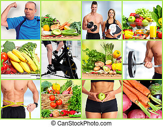 Healthy fitness people set.