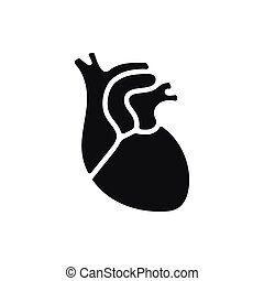 Black simple Medical heart icon isolated