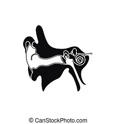 Simple black Parts or system of the Human Ear, Auricle icon...
