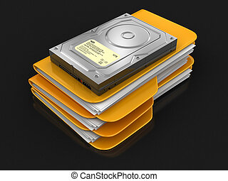 Folders and files with Hard Drive. Image with clipping path