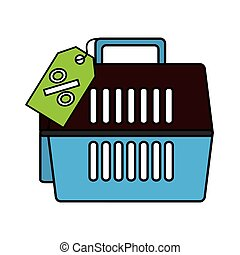 Pet carrier box isolated icon