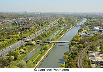 View over Rhein-Herne-Kanal in Oberhausen, Germany.