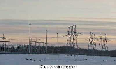 Power station on the sky background