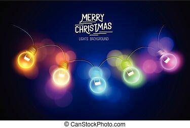 Christmas Fairy Lights - A row of christmas colourful fairy...