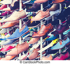 shoes - Selective focus big collection of different fashion...