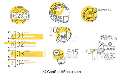 Infographic Elements In The Line Style. Yellow Spot -...