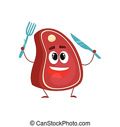 Funny beef steak character holding fork and knife