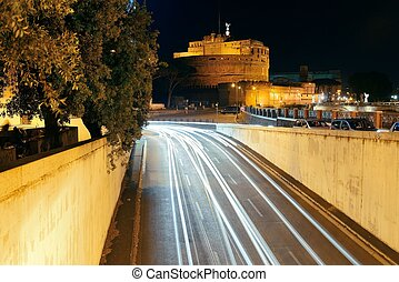 Castel Sant Angelo in Italy Rome at night with traffic light...