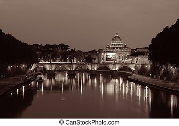 River Tiber in Rome with Vatican City St Peters Basilica and...