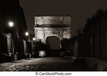 Arch of Titus - Arco di Tito (Arch of Titus) at night in...