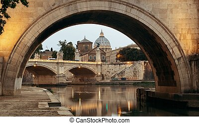 River Tiber in Rome with Vatican City St Peters Basilica,...